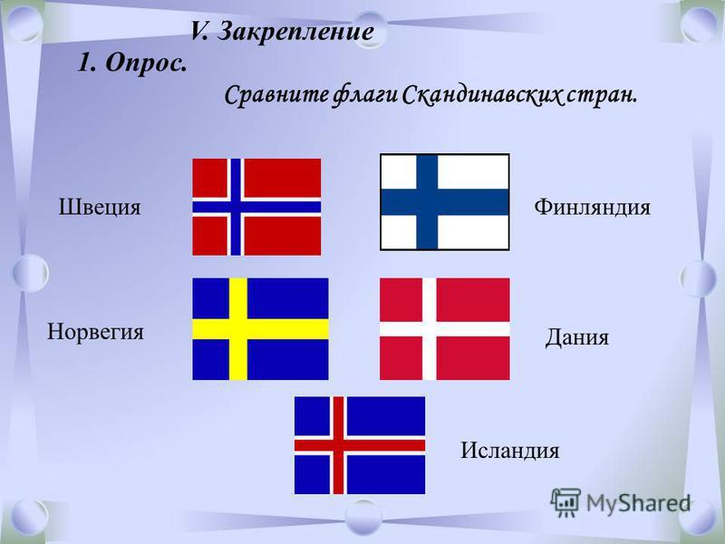 Норвегия Швеция Финляндия Дания Исландия V. Закрепление 1. Опрос. Сравните флаги Скандинавских стран.