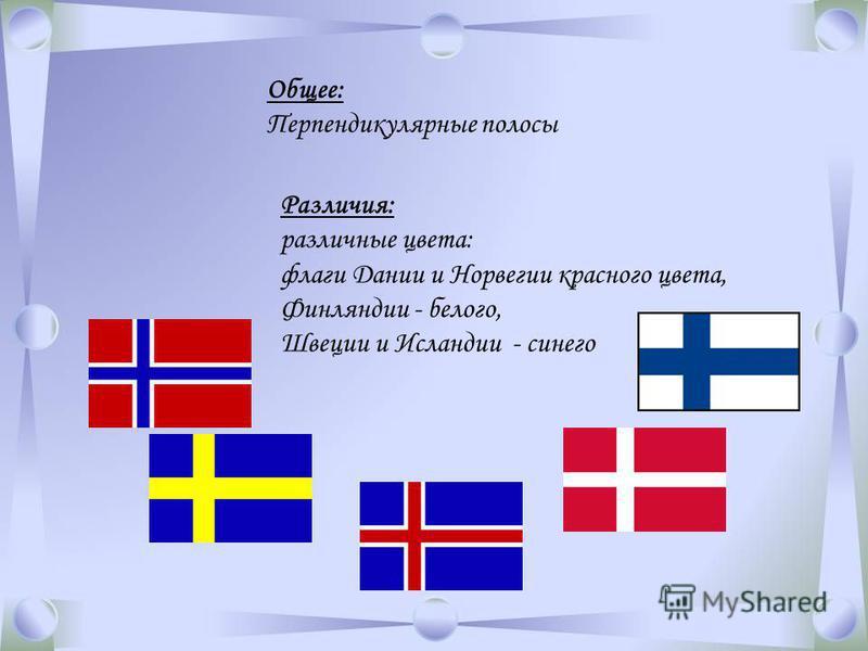 Общее: Перпендикулярные полосы Различия: различные цвета: флаги Дании и Норвегии красного цвета, Финляндии - белого, Швеции и Исландии - синего