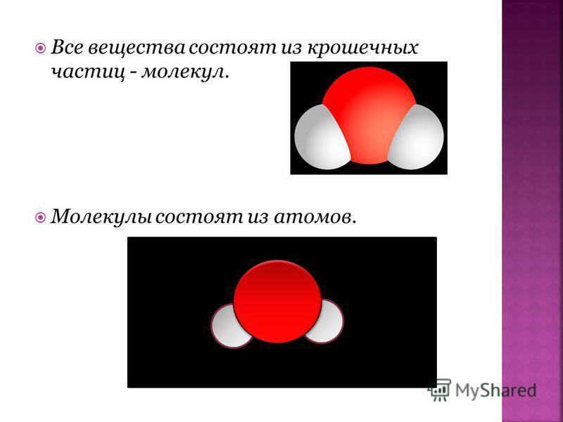 Все вещества состоят из крошечных частиц - молекул. Молекулы состоят из атомов.