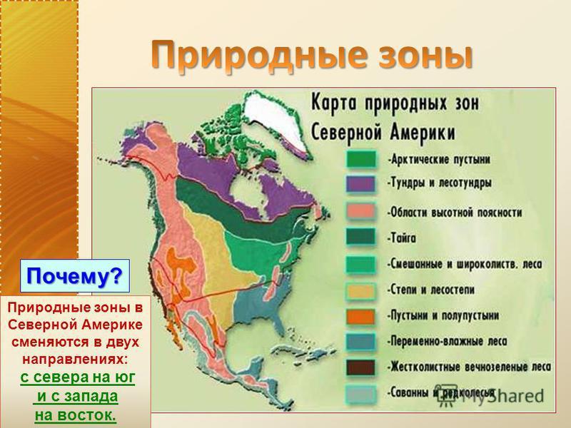 Природные зоны в Северной Америке сменяются в двух направлениях: с севера на юг и с запада на восток. Почему?