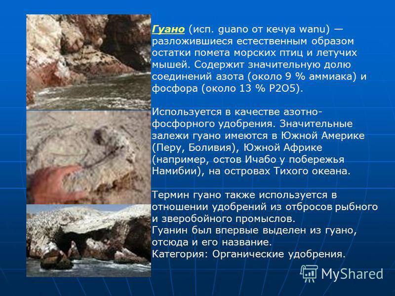 Гуано (исп. guano от кечуа wanu) разложившиеся естественным образом остатки помета морских птиц и летучих мышей. Содержит значительную долю соединений азота (около 9 % аммиака) и фосфора (около 13 % P2O5). Используется в качестве азотно- фосфорного у