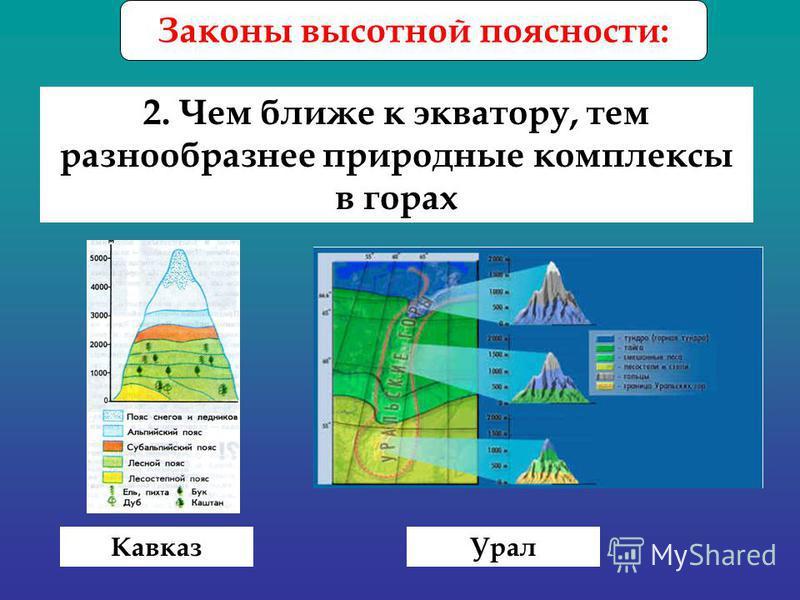 Законы высотной поясности: 2. Чем ближе к экватору, тем разнообразнее природные комплексы в горах Кавказ Урал