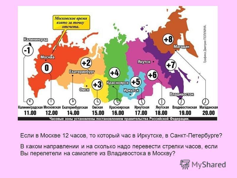 Если в Москве 12 часов, то который час в Иркутске, в Санкт-Петербурге? В каком направлении и на сколько надо перевести стрелки часов, если Вы перелетели на самолете из Владивостока в Москву?