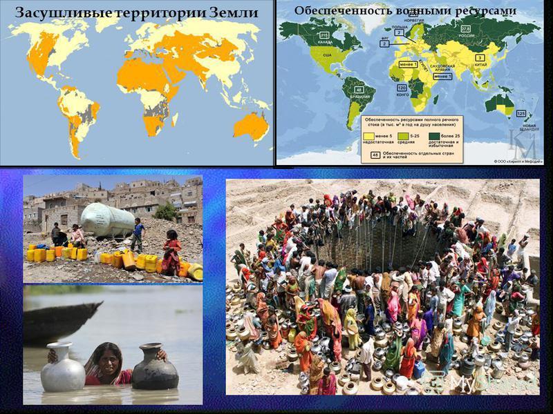 Засушливые территории Земли Обеспеченность водными ресурсами