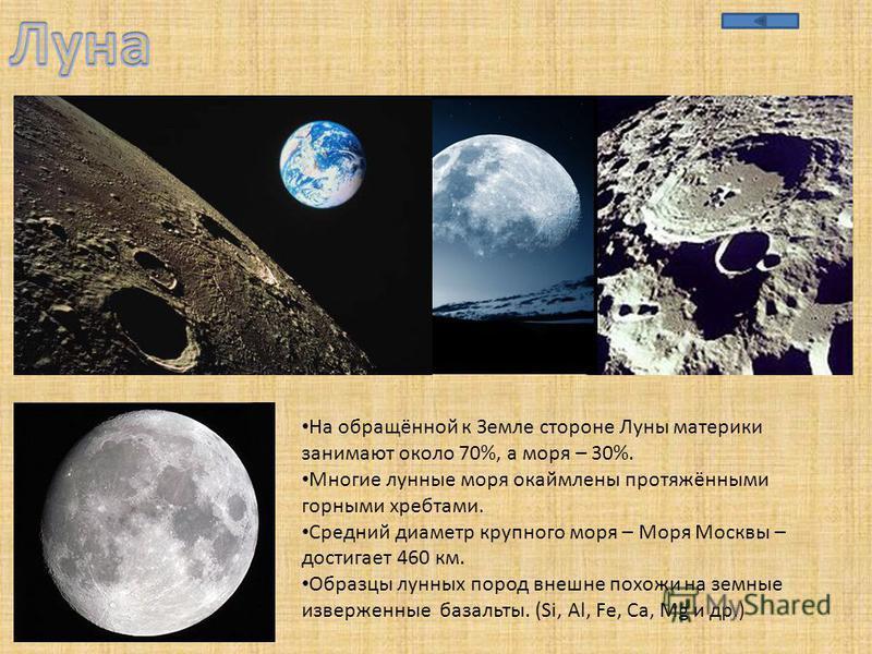 На обращённой к Земле стороне Луны материки занимают около 70%, а моря – 30%. Многие лунные моря окаймлены протяжёнными горными хребтами. Средний диаметр крупного моря – Моря Москвы – достигает 460 км. Образцы лунных пород внешне похожи на земные изв