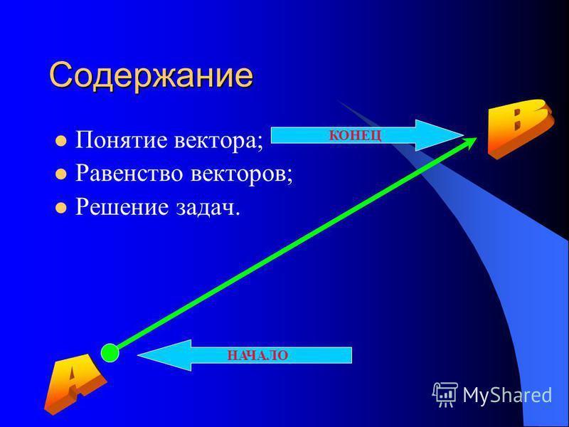 Содержание Понятие вектора; Равенство векторов; Решение задач. НАЧАЛО КОНЕЦ
