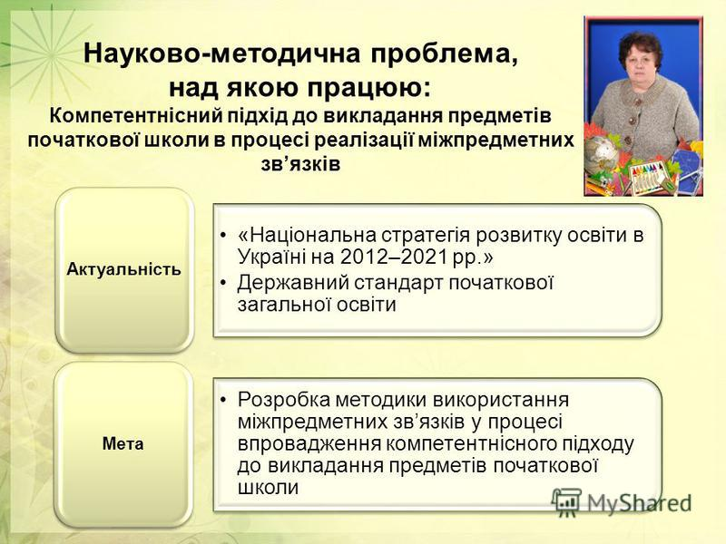 Науково-методична проблема, над якою працюю: Компетентнісний підхід до викладання предметів початкової школи в процесі реалізації міжпредметних звязків «Національна стратегія розвитку освіти в Україні на 2012–2021 рр.» Державний стандарт початкової з