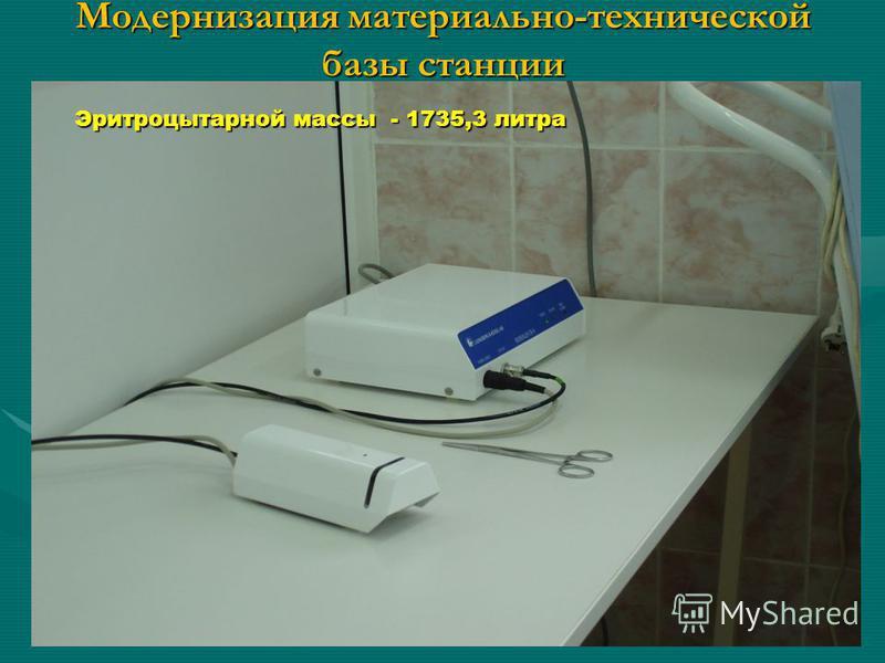 Модернизация материально-технической базы станции Тромбоконцетрата 1273 дозы
