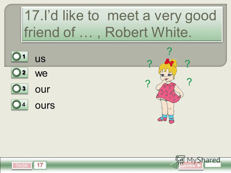 17 TASK 17. Id like to meet a very good friend of …, Robert White.. 17. Id like to meet a very good friend of …, Robert White.. us we our ours Далее Далее 11 0 22 0 33 0 44 1 ? ? ? ? ?