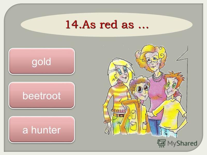 14. As red as … beetroot gold a hunter