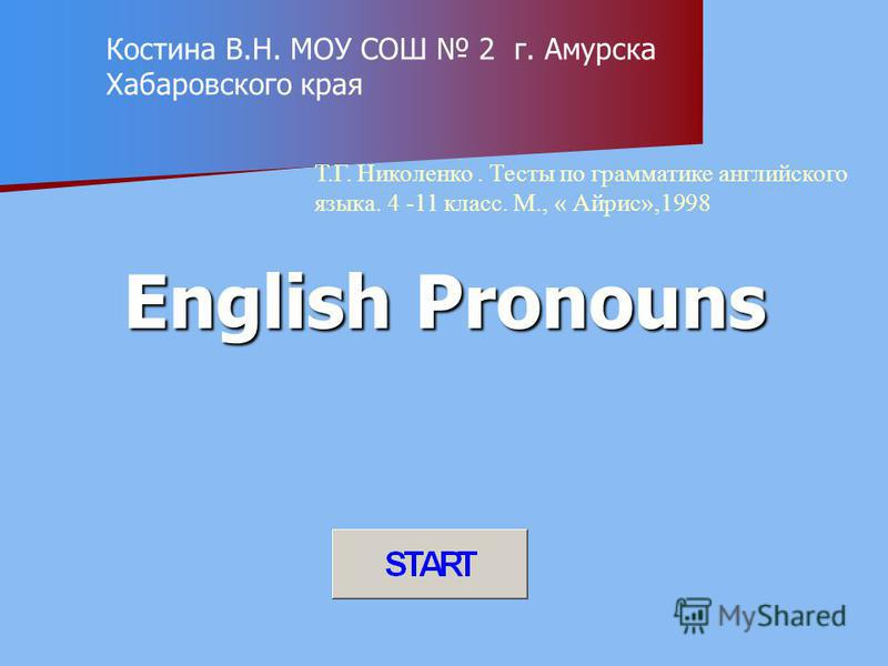 English Pronouns Костина В.Н. МОУ СОШ 2 г. Амурска Хабаровского края Т.Г. Николенко. Тесты по грамматике английского языка. 4 -11 класс. М., « Айрис»,1998