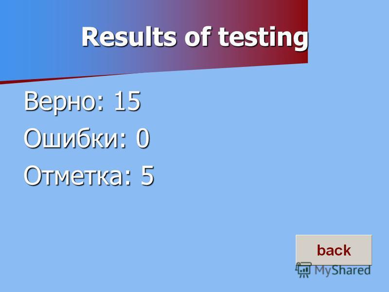 Results of testing Верно: 15 Ошибки: 0 Отметка: 5
