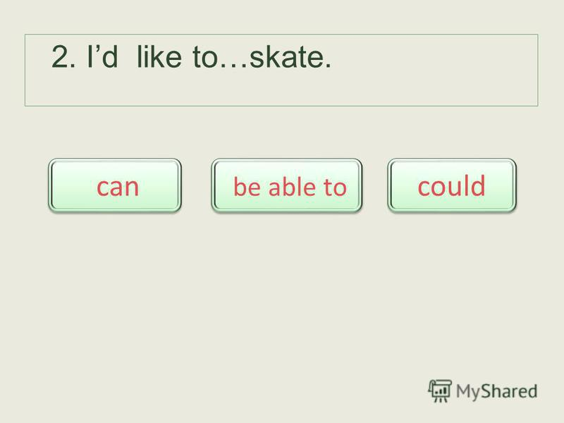 2. Id like to…skate. be able to be able to can could