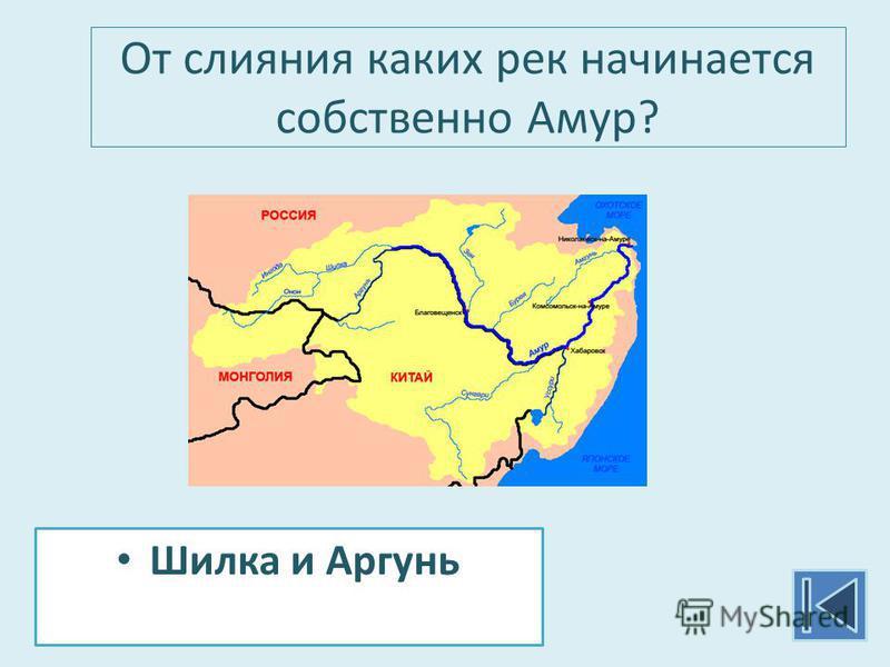 От слияния каких рек начинается собственно Амур? Шилка и Аргунь