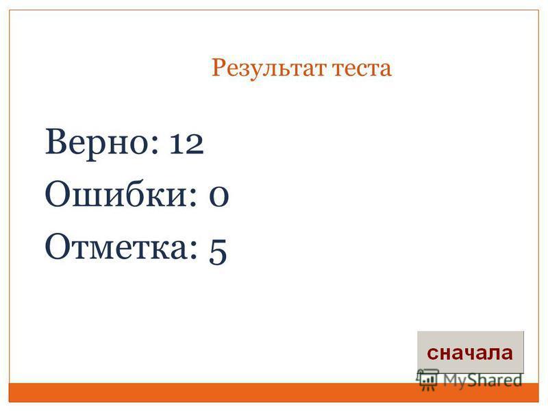 Результат теста Верно: 12 Ошибки: 0 Отметка: 5