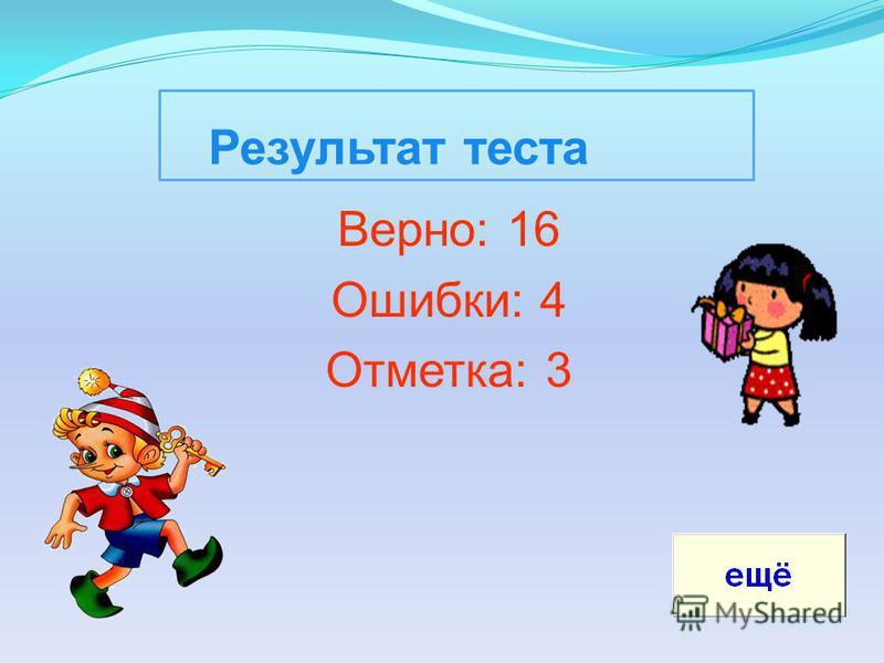Результат теста Верно: 16 Ошибки: 4 Отметка: 3