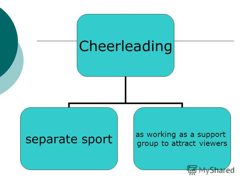 Cheerleading separate sport as working as a support group to attract viewers