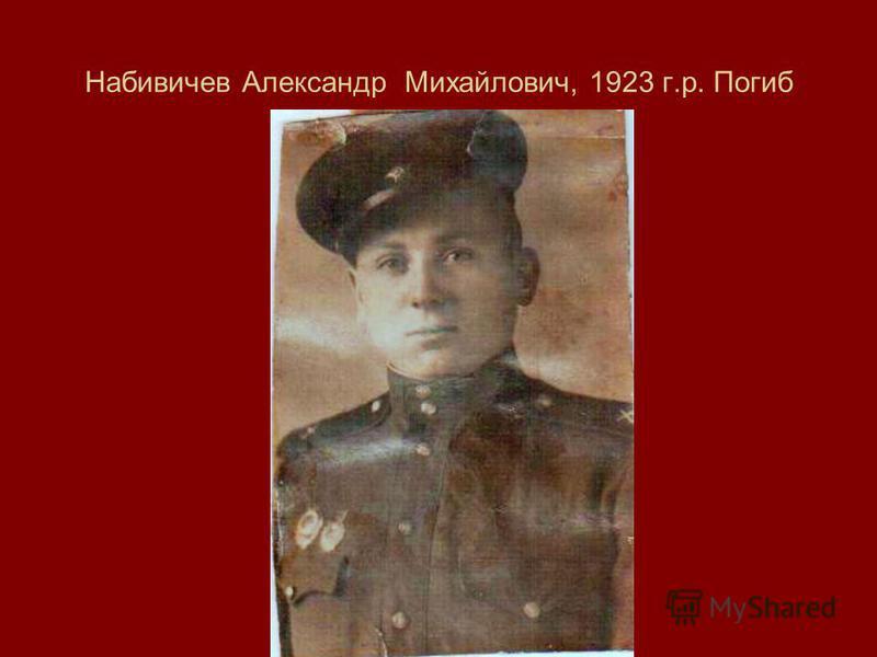 Набивичев Александр Михайлович, 1923 г.р. Погиб