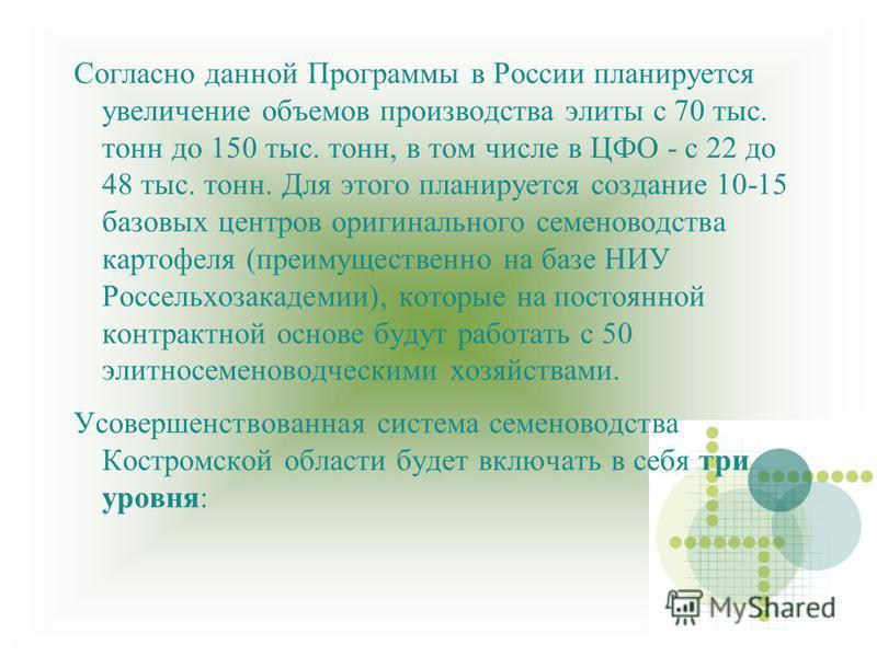 Согласно данной Программы в России планируется увеличение объемов производства элиты с 70 тыс. тонн до 150 тыс. тонн, в том числе в ЦФО - с 22 до 48 тыс. тонн. Для этого планируется создание 10-15 базовых центров оригинального семеноводства картофеля