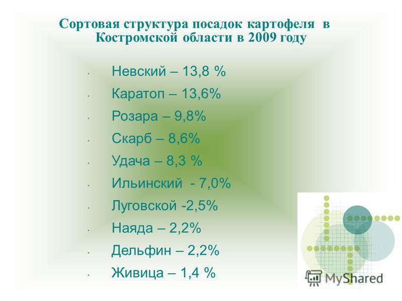 Сортовая структура посадок картофеля в Костромской области в 2009 году Невский – 13,8 % Каратоп – 13,6% Розара – 9,8% Скарб – 8,6% Удача – 8,3 % Ильинский - 7,0% Луговской -2,5% Наяда – 2,2% Дельфин – 2,2% Живица – 1,4 %