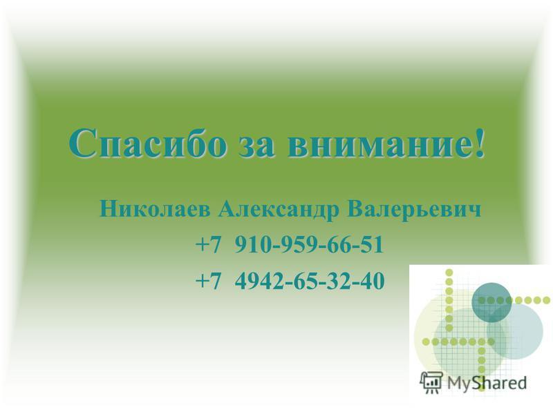 Спасибо за внимание! Николаев Александр Валерьевич +7 910-959-66-51 +7 4942-65-32-40