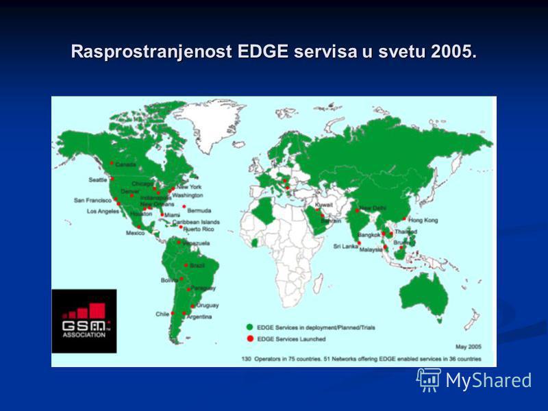 Rasprostranjenost EDGE servisa u svetu 2005.