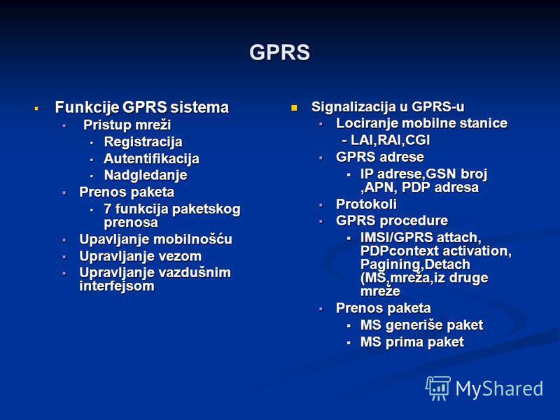 GPRS Funkcije GPRS sistema Funkcije GPRS sistema Pristup mreži Pristup mreži Registracija Registracija Autentifikacija Autentifikacija Nadgledanje Nadgledanje Prenos paketa Prenos paketa 7 funkcija paketskog prenosa 7 funkcija paketskog prenosa Upavl