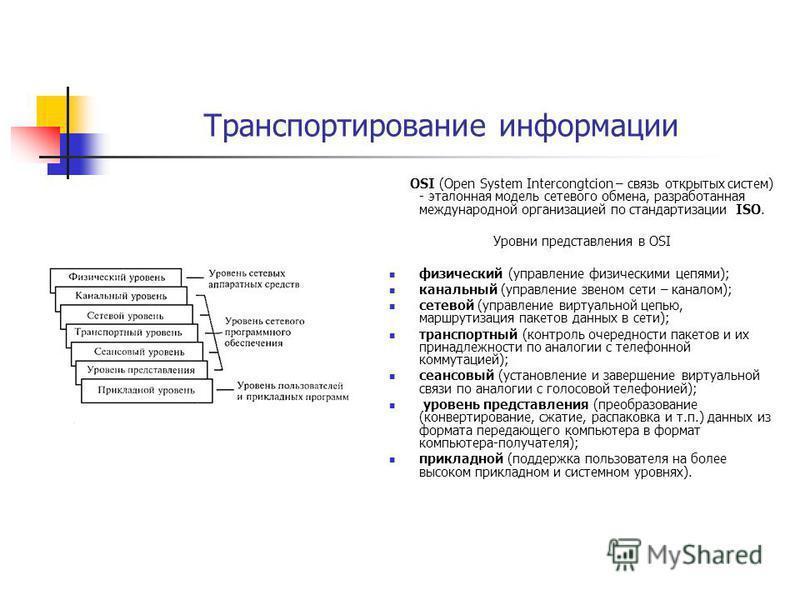 Транспортирование информации OSI (Open System Intercongtcion – связь открытых систем) - эталонная модель сетевого обмена, разработанная международной организацией по стандартизации ISO. Уровни представления в OSI физический (управление физическими це