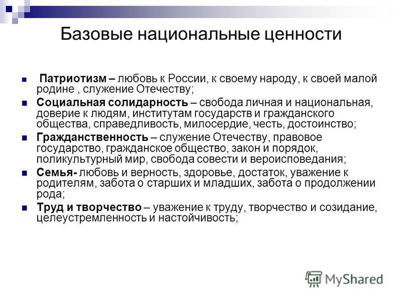 Базовые национальные ценности Патриотизм – любовь к России, к своему народу, к своей малой родине, служение Отечеству; Социальная солидарность – свобода личная и национальная, доверие к людям, институтам государств и гражданского общества, справедлив