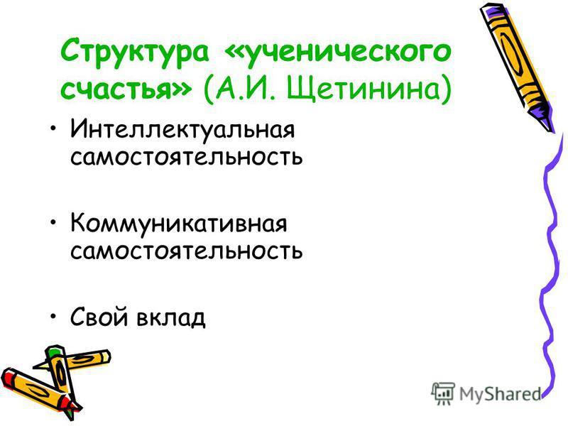 Структура «ученического счастья» (А.И. Щетинина) Интеллектуальная самостоятельность Коммуникативная самостоятельность Свой вклад