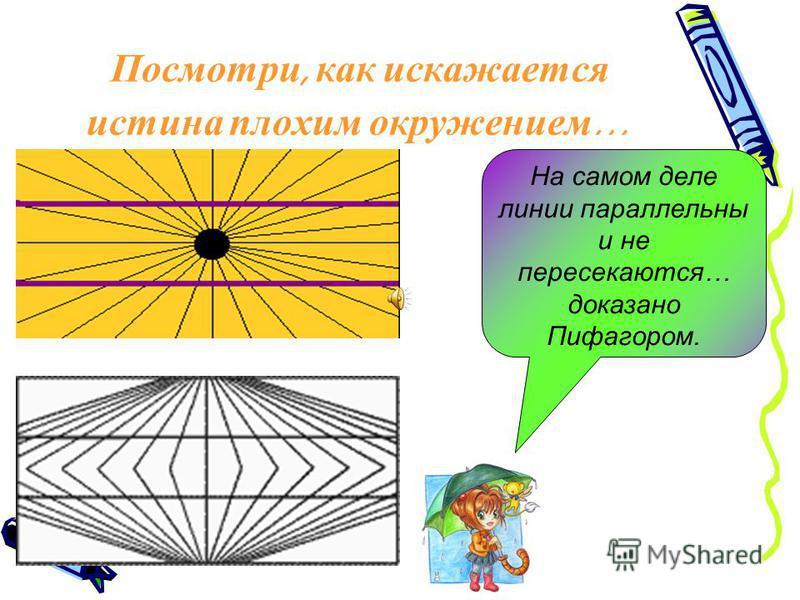 Посмотри, как искажается истина плохим окружением … На самом деле линии параллельны и не пересекаются… доказано Пифагором.