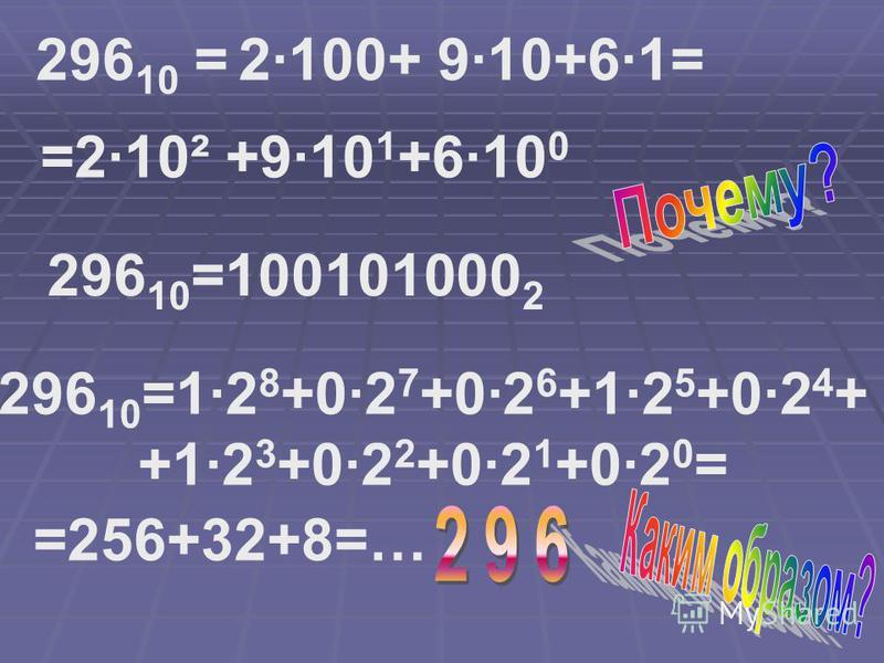 296 10 = =2·10² +9·10 1 +6·10 0 296 10 =100101000 2 296 10 =1·2 8 +0·2 7 +0·2 6 +1·2 5 +0·2 4 + +1·2 3 +0·2 2 +0·2 1 +0·2 0 = =256+32+8=… 2·100+ 9·10+6·1=