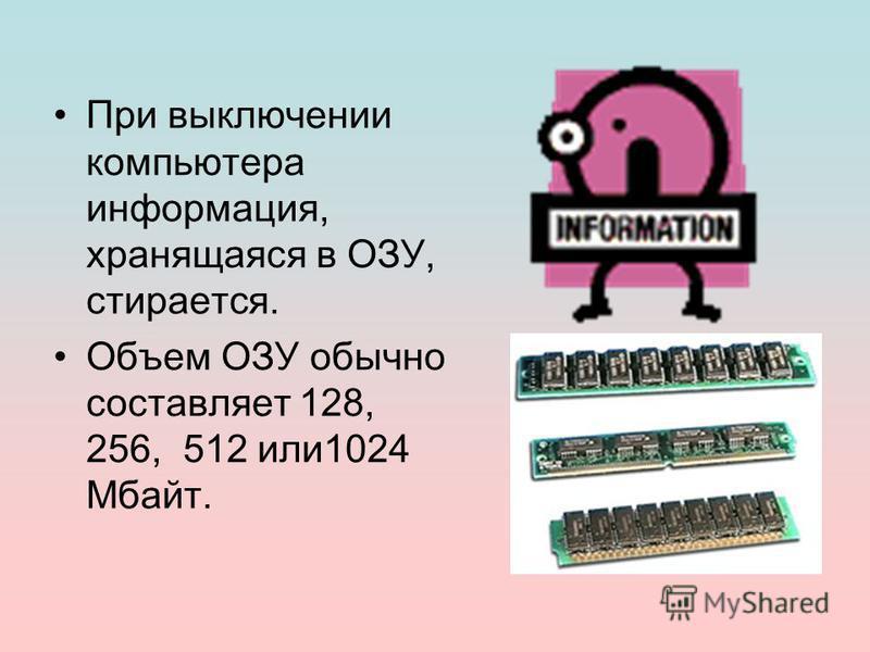 При выключении компьютера информация, хранящаяся в ОЗУ, стирается. Объем ОЗУ обычно составляет 128, 256, 512 или 1024 Мбайт.