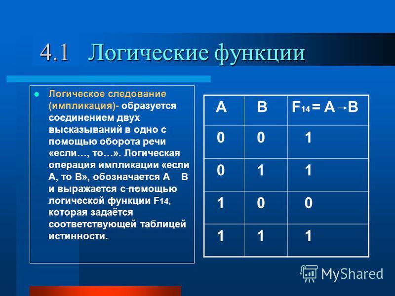4.1 Логические функции 4.1 Логические функции Логическое следование (импликация)- образуется соединением двух высказываний в одно с помощью оборота речи «если…, то…». Логическая операция импликации «если А, то В», обозначается А В и выражается с помо