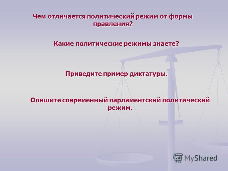 Чем отличается политический режим от формы правления? Какие политические режимы знаете? Приведите пример диктатуры. Опишите современный парламентский политический режим.