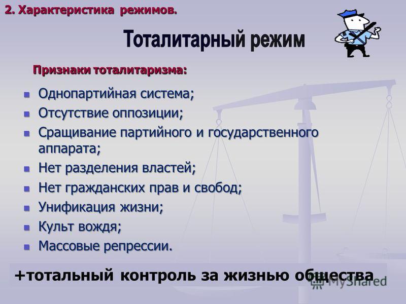 Однопартийная система; Однопартийная система; Отсутствие оппозиции; Отсутствие оппозиции; Сращивание партийного и государственного аппарата; Сращивание партийного и государственного аппарата; Нет разделения властей; Нет разделения властей; Нет гражда