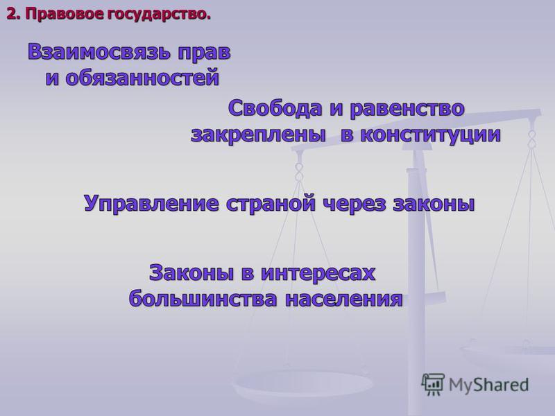 2. Правовое государство.