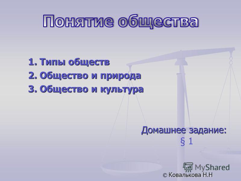 Домашнее задание: § 1 © Ковалькова Н.Н 1. Типы обществ 2. Общество и природа 3. Общество и культура