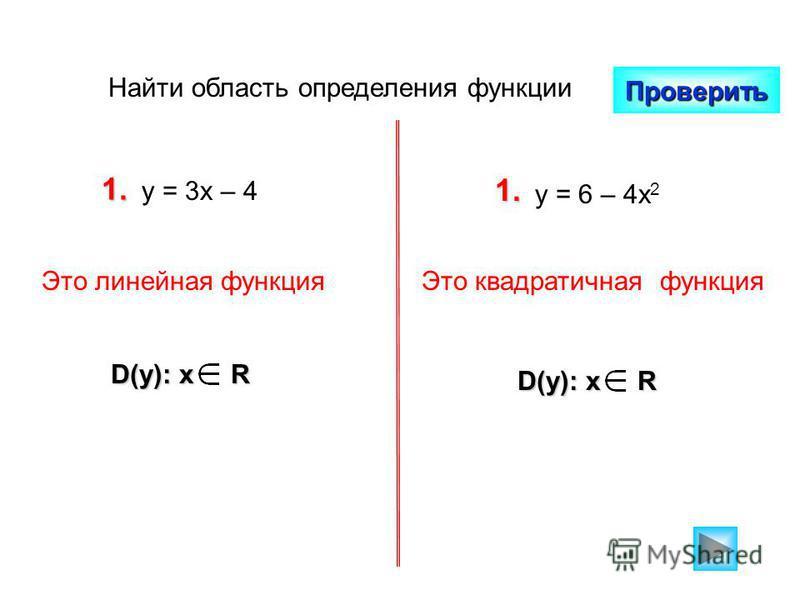 Найти область определения функции Проверить 1. у = 3 х – 4 1. у = 6 – 4 х 2 D(y): x R Это линейная функция Это квадратичная функция