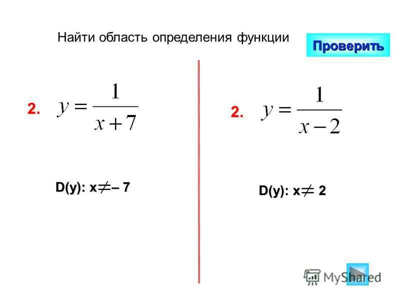Найти область определения функции Проверить 2. D(y): x – 7 D(y): x 2 2.