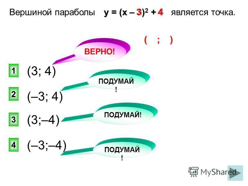 ВЕРНО! 1 2 4 3 у = (х – 3) 2 + 4 Вершиной параболы у = (х – 3) 2 + 4 является точка. (3; 4) ПОДУМАЙ ! (–3; 4) (3;–4) (–3;–4) 43 ( ; )