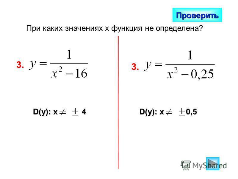 При каких значениях х функция не определена? Проверить 3. D(y): x 4 3. D(y): x 0,5
