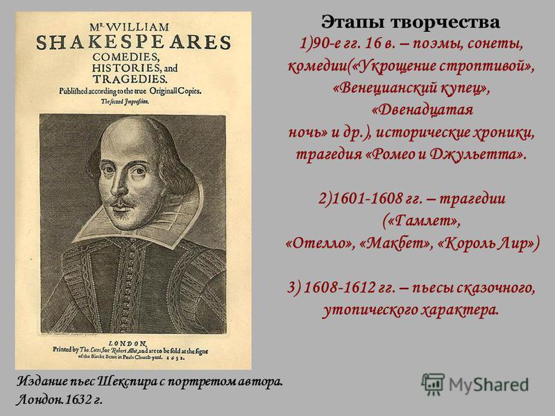 Этапы творчества 1)90-е гг. 16 в. – поэмы, сонеты, комедии(«Укрощение строптивой», «Венецианский купец», «Двенадцатая ночь» и др.), исторические хроники, трагедия «Ромео и Джульетта». 2)1601-1608 гг. – трагедии («Гамлет», «Отелло», «Макбет», «Король