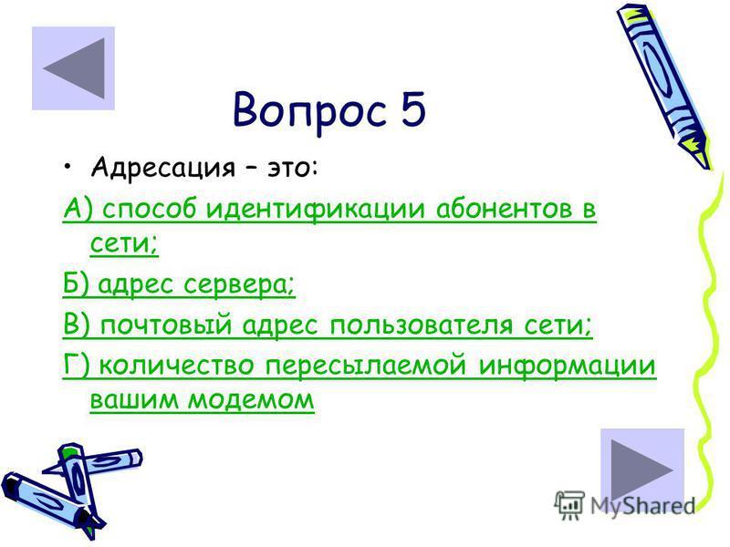 Вопрос 5 Адресация – это: А) способ идентификации абонентов в сети; Б) адрес сервера; В) почтовый адрес пользователя сети; Г) количество пересылаемой информации вашим модемом