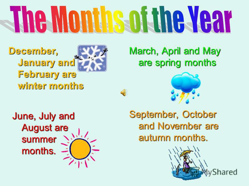 December, January and February are winter months March, April and May are spring months June, July and August are summer months. September, October and November are autumn months.