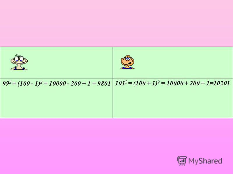 99 2 = (100 - 1) 2 = 10000 - 200 + 1 = 9801101 2 = (100 + 1) 2 = 10000 + 200 + 1=10201