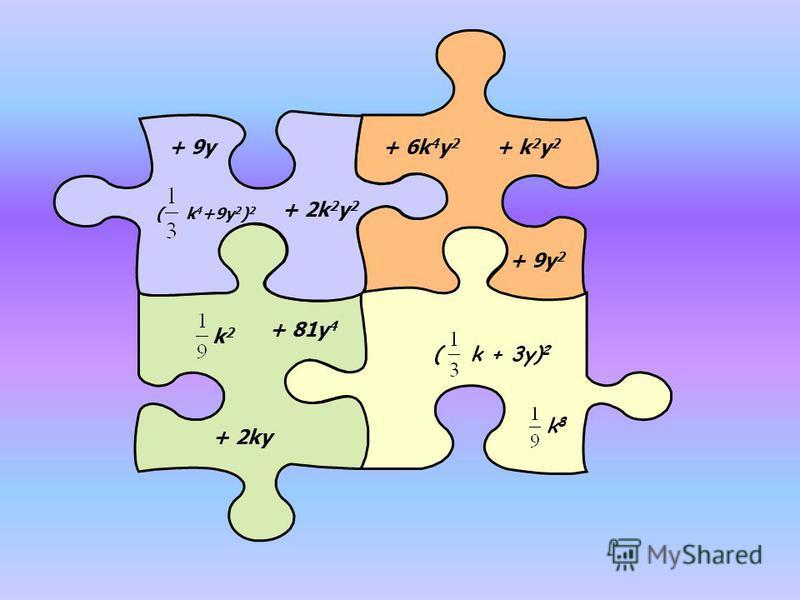 + 9y + 2k 2 y 2 ( k 4 +9y 2 ) 2 k2k2 + 81y 4 + 2ky + k 2 y 2 + 6k 4 y 2 + 9y 2 (k + 3y) 2 k8k8