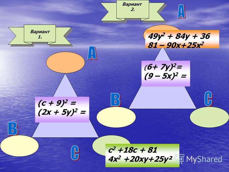 Вариант 1. Вариант 2. 49y 2 + 84y + 36 81 – 90 х+25 х 2 c 2 +18c + 81 4x 2 +20 ку+25 у² (с + 9) 2 = (2x + 5 у) 2 = ( 6+ 7 у) 2 = (9 – 5 х) 2 =