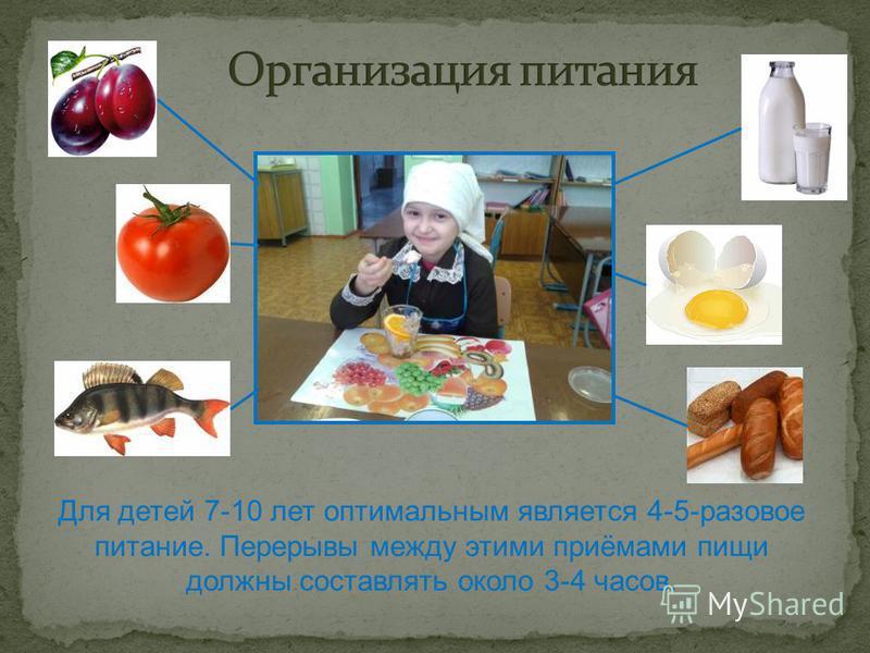Для детей 7-10 лет оптимальным является 4-5-разовое питание. Перерывы между этими приёмами пищи должны составлять около 3-4 часов.