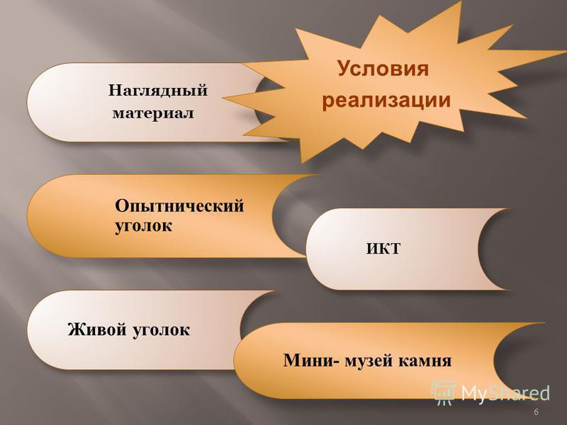 Наглядный материал Опытнический уголок ИКТ Живой уголок Мини- музей камня Условия реализации 6